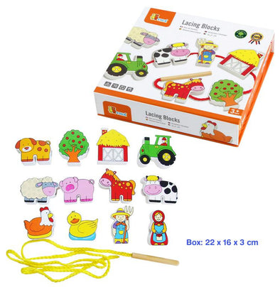 Lacing Blocks - Farm Set, Learn & Expore, Viga, Little Toy Lane - Little Toy Lane