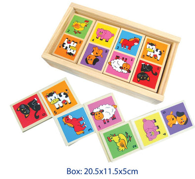 Dominoes Farm Animals in Wooden Box, Puzzles, Fun Factory, Little Toy Lane - Little Toy Lane