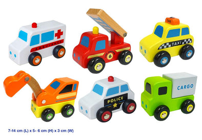 Wooden Mini Vehicle - 6 pack, , Viga, Little Toy Lane - Little Toy Lane