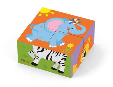 Cube puzzle - Wild animals - 4 pcs, Puzzles, Viga, Little Toy Lane - Little Toy Lane