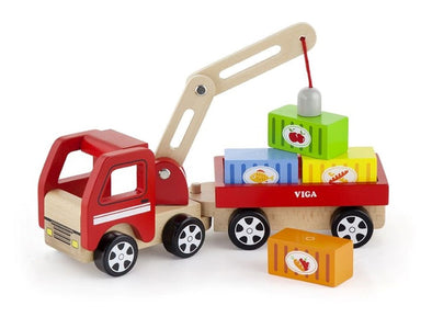 Crane Truck with Magnetic Blocks, , Viga, Little Toy Lane - Little Toy Lane