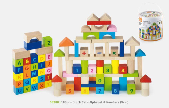 Wooden Blocks - Alphabet and Numbers, Build it, Viga, Little Toy Lane - Little Toy Lane