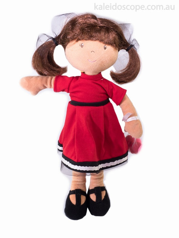 Bonikka Doll - Lockettes in red dress, Cloth Doll, Bonikka, Little Toy Lane - Little Toy Lane
