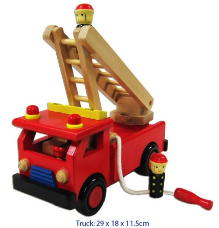 Wooden Fire Engine with Ladder and Firemen, , Fun Factory, Little Toy Lane - Little Toy Lane