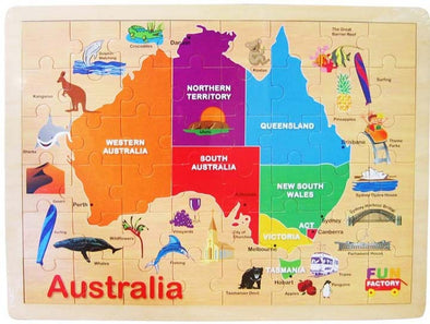Australian Map Jigsaw Puzzle- Back order only, Puzzles, Fun Factory, Little Toy Lane - Little Toy Lane