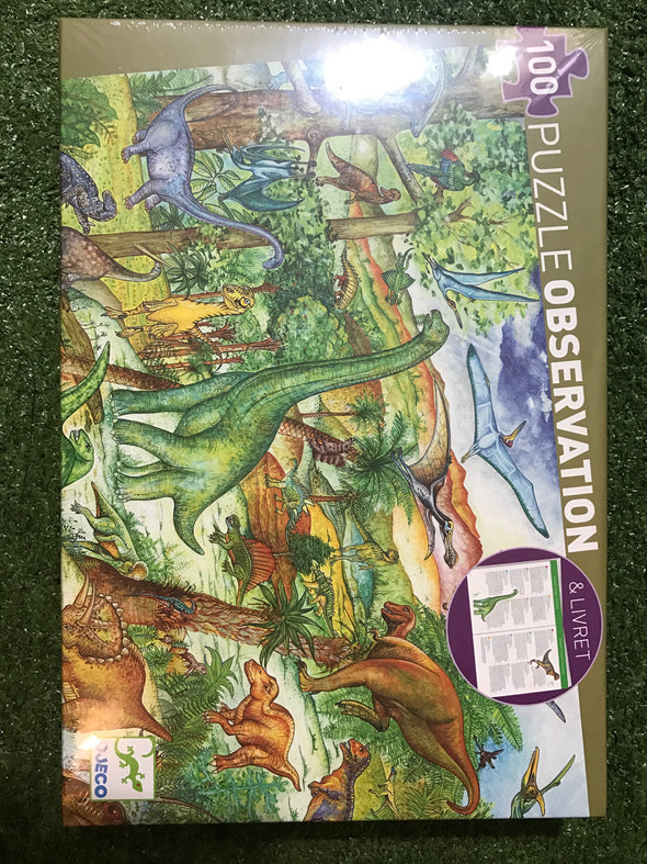 Dinosaurs 100pc Observation Puzzle, Puzzles, Djeco, Little Toy Lane - Little Toy Lane