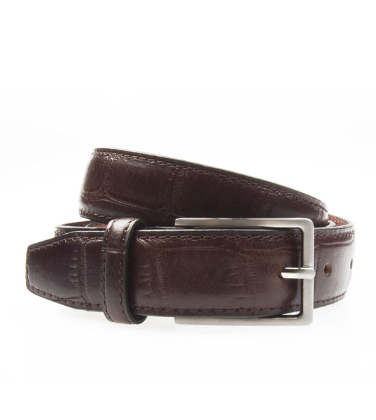 Textured Leather Belt Brown