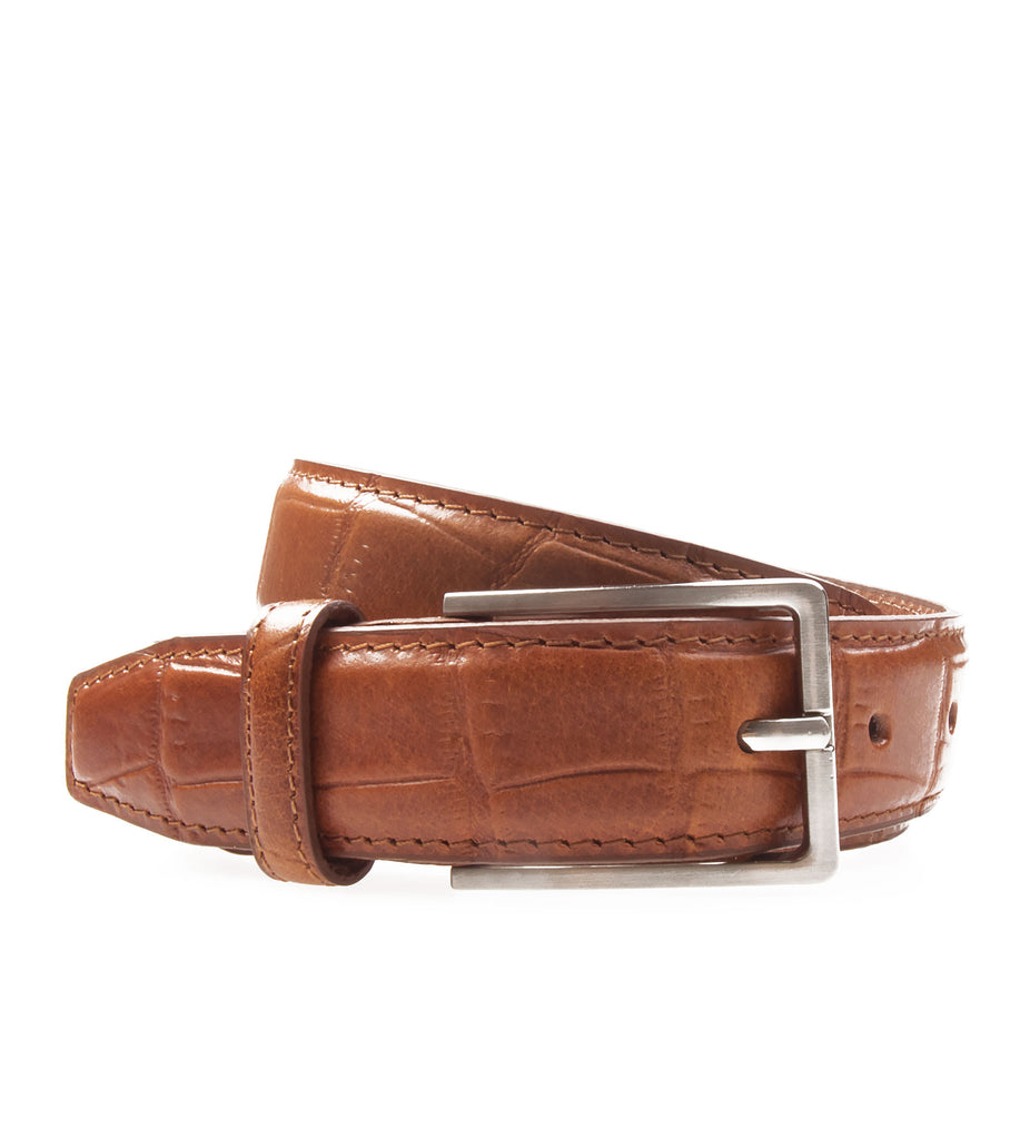 Textured Leather Belt Rust