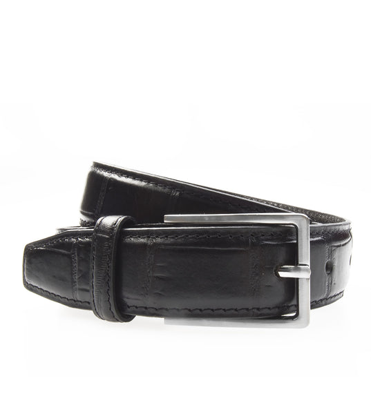 Textured Leather Belt Black