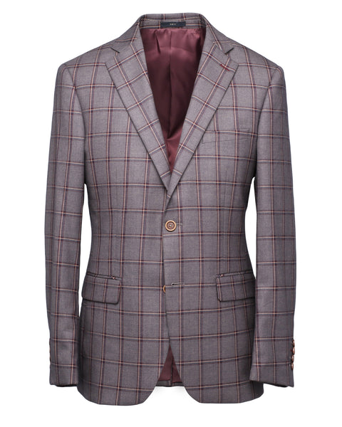 Kaga Greyish Brown Plaid Blazer