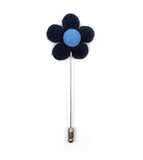 Knitted Daisy Navy Lapel Pin