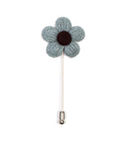 Knitted Daisy Teal Lapel Pin