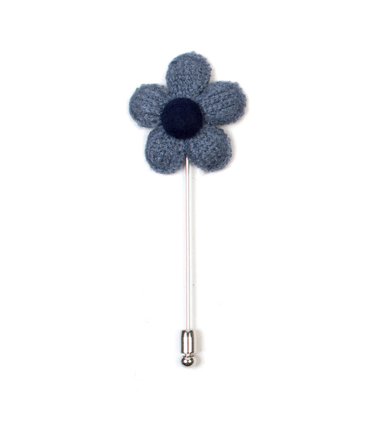 Knitted Daisy Blue Lapel Pin