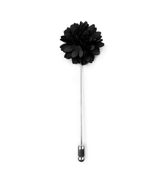 Black Suede Fan Flower Lapel Pin
