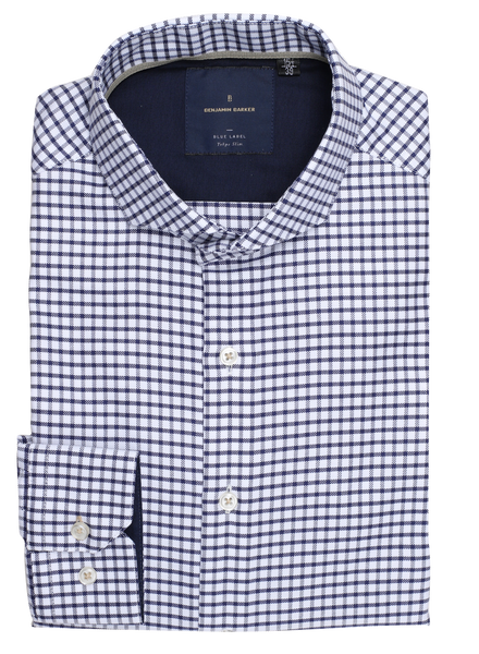 Yojiro Easy Iron Navy Check