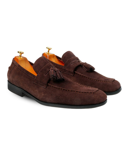 Suede Tassel Loafers Brown