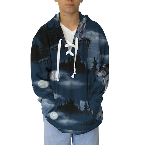 Howling Wolves Adult Hooded Top