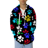 Multi Color Paws Adult Hooded Top