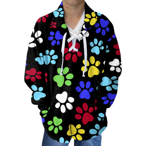 Multi Color Paws Adult Collared Top