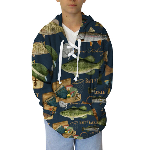Gone Fishing  Adult Hooded Top