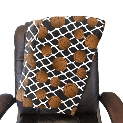 Black Basketball Blanket - Single Sided