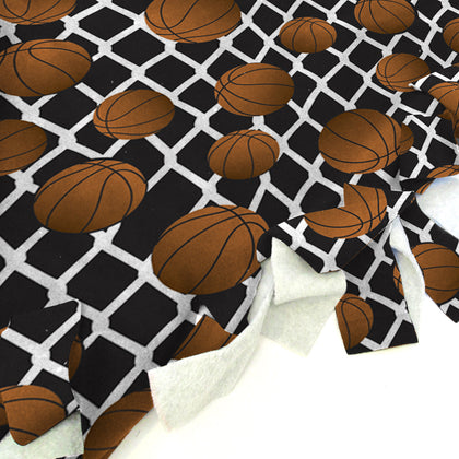 Black Basketball Blanket Tie Kit