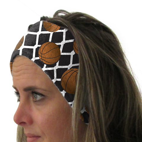 Black Basketball Youth and Adult Head Band