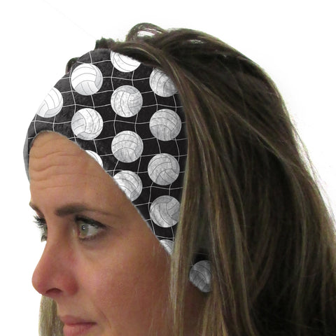 Black Volleyball Youth and Adult Head Band