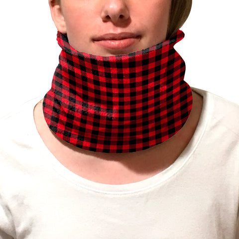 Buffalo Plaid Red and Black Youth and Adult Neck Warmer