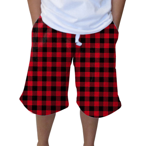 Buffalo Plaid Red and Black Adult Knee Length Short