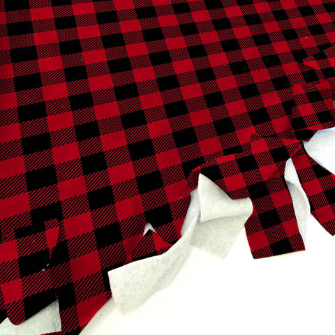 Buffalo Plaid Red and Black Blanket Tie Kit