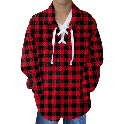 Buffalo Plaid Red and Black Adult Collared Top