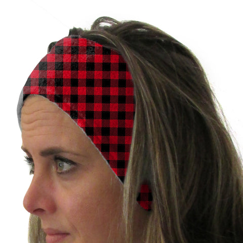 Buffalo Plaid Red and Black Youth and Adult Head Band