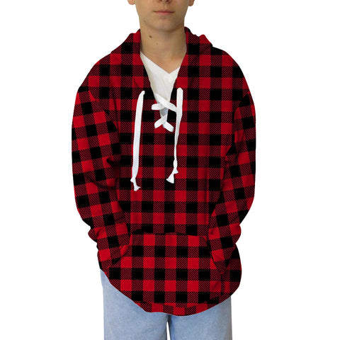 Buffalo Plaid Red and Black Adult Hooded Top