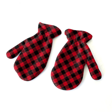 Buffalo Plaid Red and Black Mitten - Double Sided