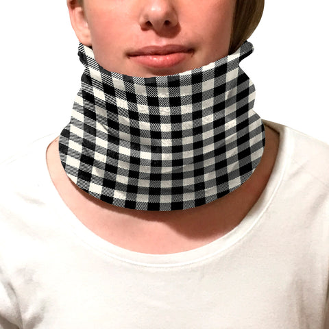 Buffalo Plaid White and Black Youth and Adult Neck Warmer