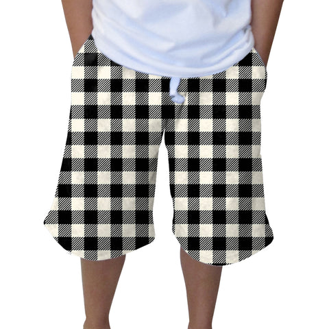 Buffalo Plaid White and Black Adult Knee Length Short