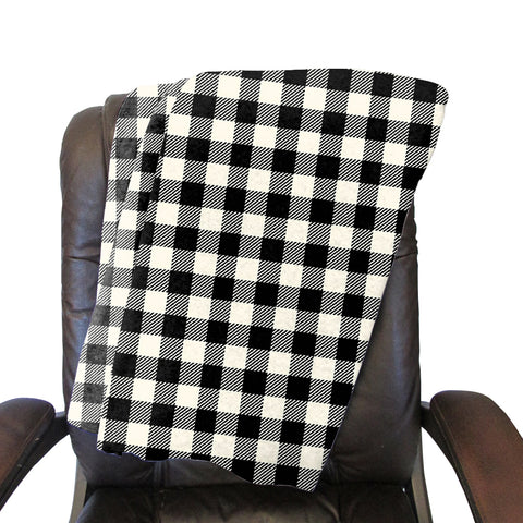 Buffalo Plaid White and Black Blanket - Double Sided