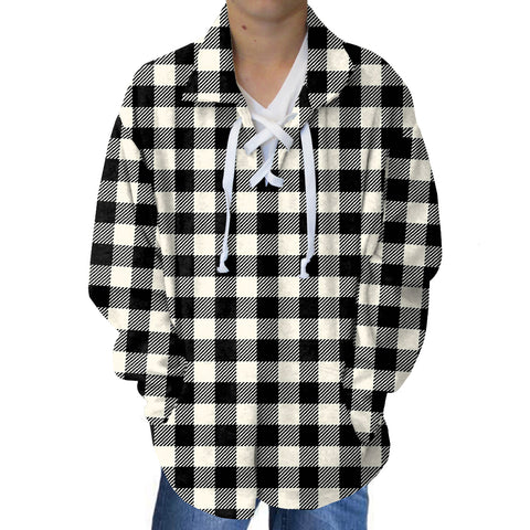 Buffalo Plaid White and Black Adult Collared Top