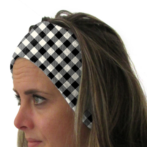 Buffalo Plaid White and Black Youth and Adult Head Band