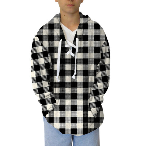 Buffalo Plaid White and Black Adult Hooded Top