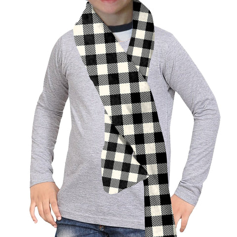 Buffalo Plaid White and Black Scarf - Double Sided