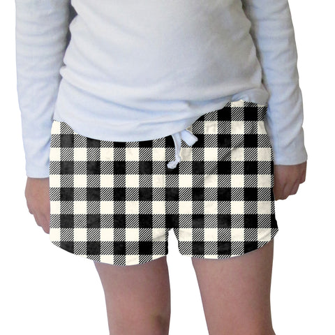 Buffalo Plaid White and Black Womens Short Short