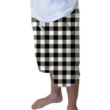 Buffalo Plaid White and Black Youth Knee Length Short