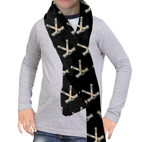 Hat Trick Hockey Black Scarf - Double Sided
