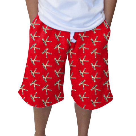 Hat Trick Hockey Red Youth Knee Length Short