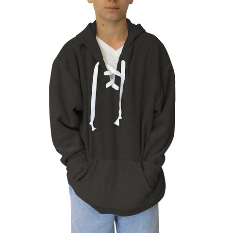 Heather Grey Solid Youth Hooded Top
