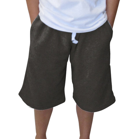 Heather Grey Solid Youth Knee Length Short