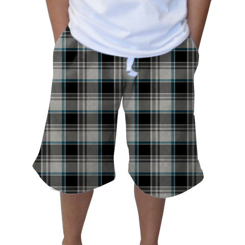 London Plaid Charcoal Youth Knee Length Short