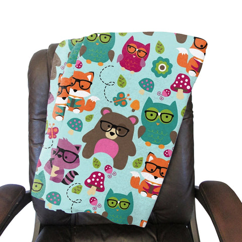 Nerdy Forest Buddies Blanket - Double Sided